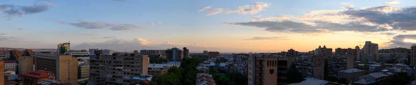 Panorama of Yerevan from the rooftop of Paris Hotel