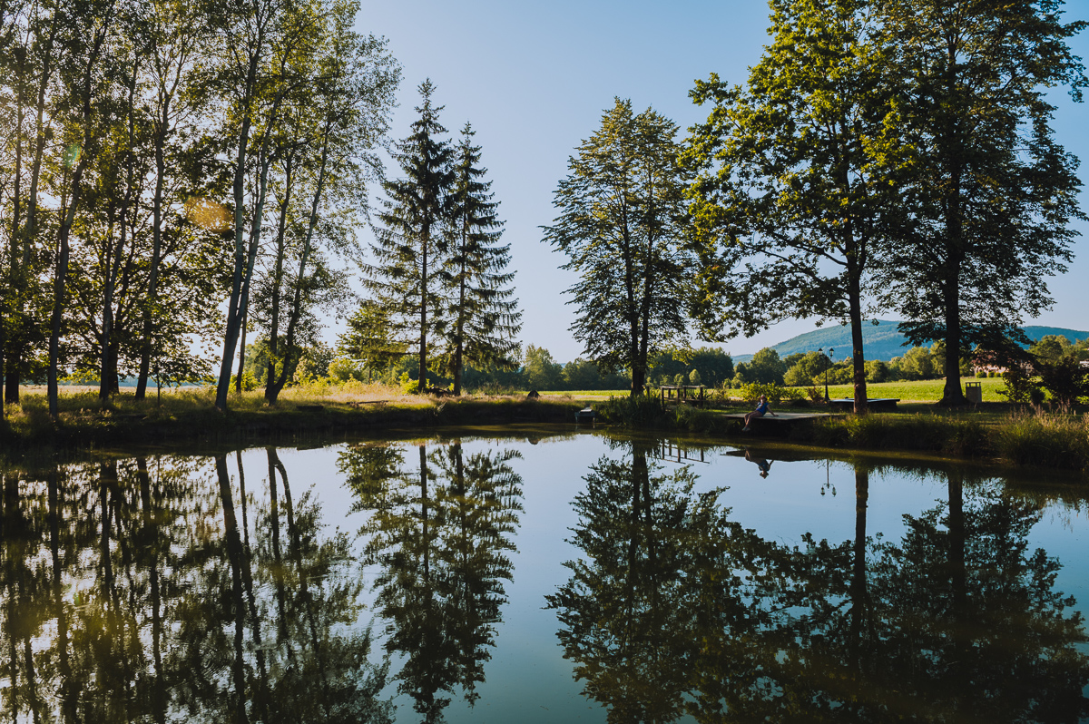 Pond close to Děčín during golden hour