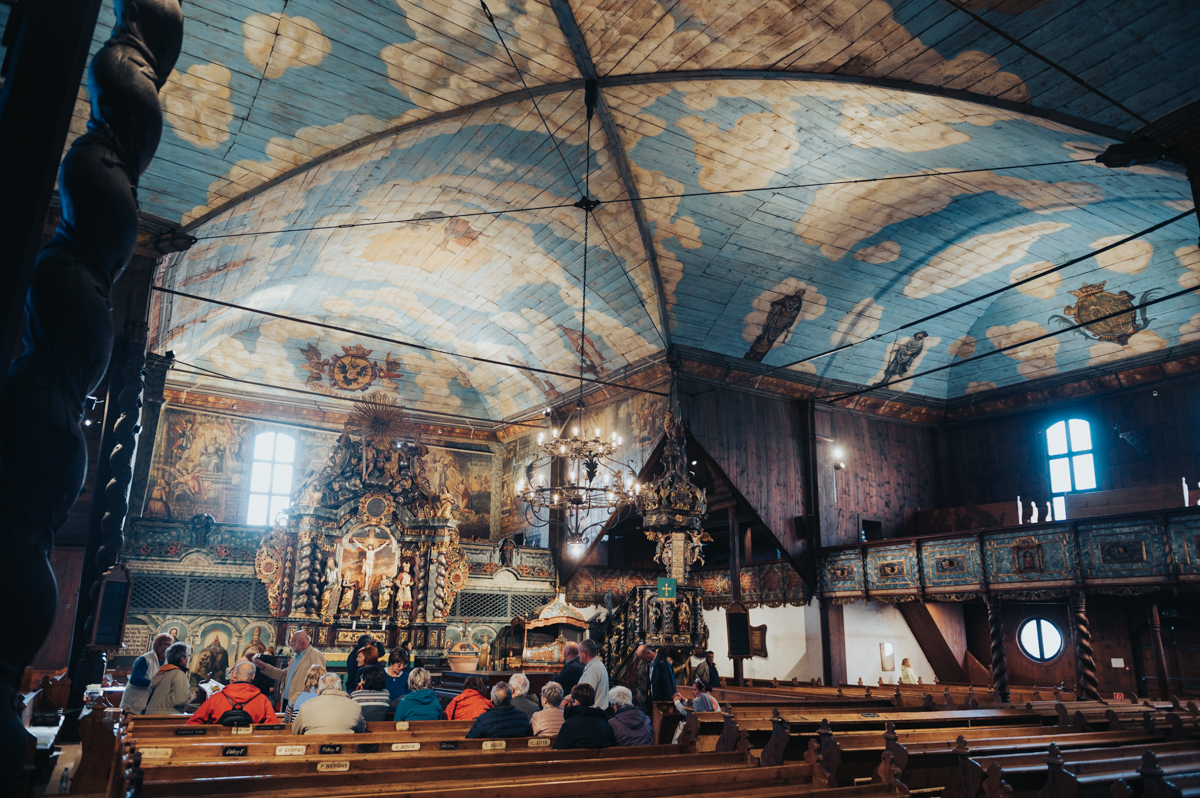 Interior of the wooden articular church in Kezmarok