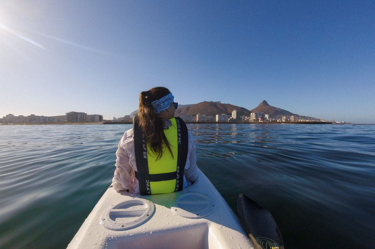 Kayaking in front of Cape Town