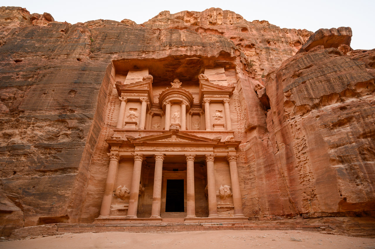 Treasury in Petra in late afternoon light in December