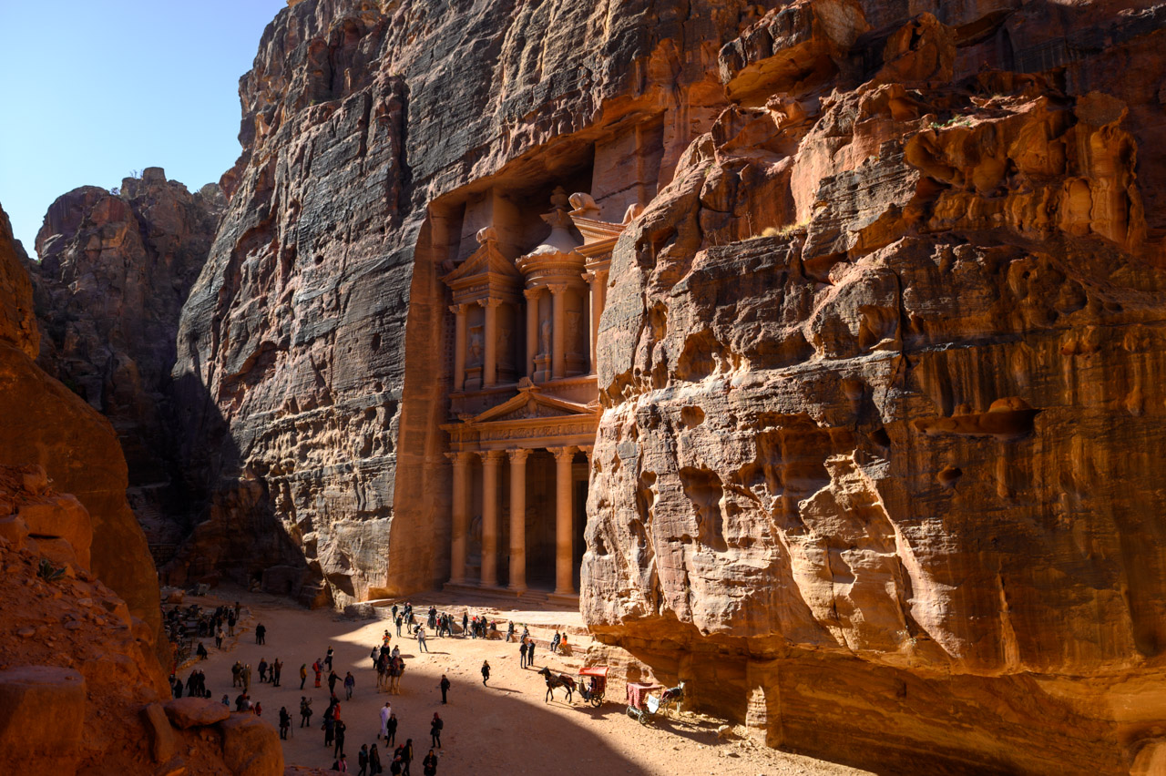Treasury in Petra in the morning light as seen from the left