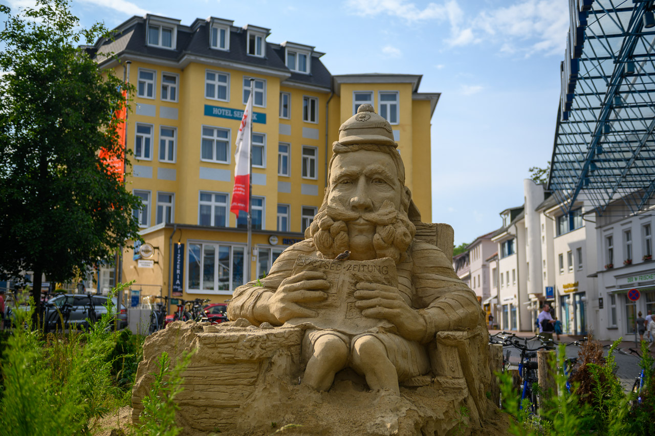 Sand sculpture of Kaiser Wilhelm II. in Herringsdorf